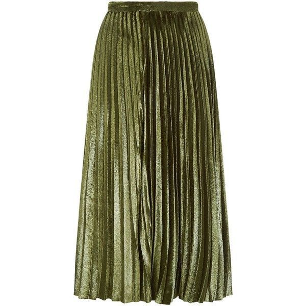 Whistles Kitty Metallic Pleated Skirt ($195) ❤ liked on Polyvore featuring skirts, midi skirt, knife-pleated skirts, whistles skirts, mid calf skirts and velvet pleated skirt