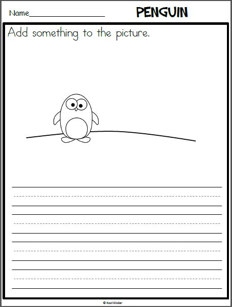Penguin Writing Page with Picture Prompt