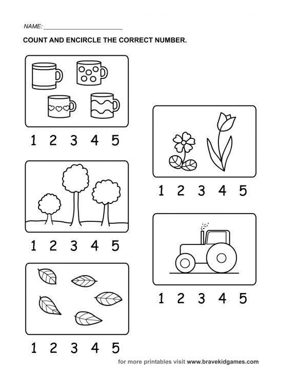 Numbers Worksheet For Kindergarten  Picture