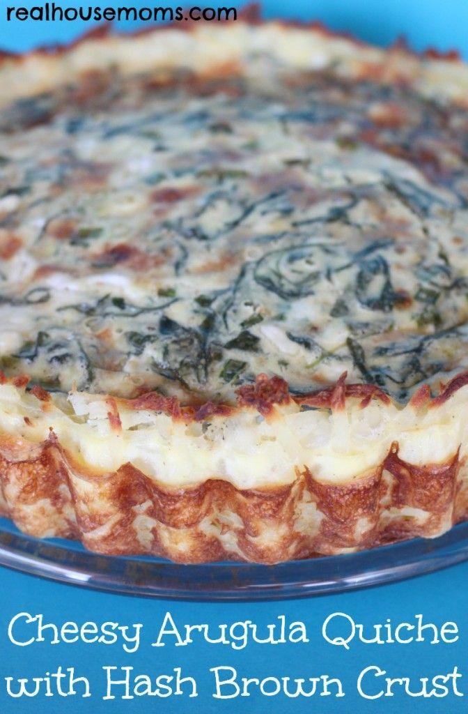 Cheesy Arugula Quiche with Hash Brown Crust #BrunchWeek