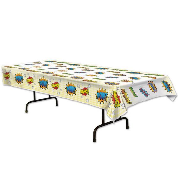 Superhero Comic Words Plastic Table Cover- Coordinate with Captain Underpants party decorations