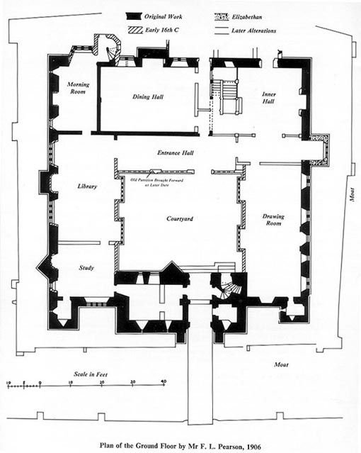 Floor plan of Hever Castle in Kent. The childhood home of Queen Anne Boleyn, the oldest part of the castle dates back to 1270. After the ill-fated Anne's death the castle passed from the disgraced Boleyns to the Crown, and thence to Anne of Cleves. It was bought in 1903 by William Waldorf Astor and transformed into a Gilded Age party house.