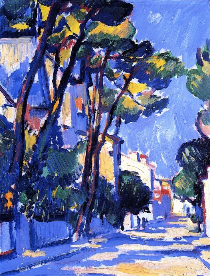 dappledwithshadow:  Street Scene, FranceSamuel John Peploe circa 1910 Private collectionPainting - oil on canvas Height: 34 cm (13.39 in.), Width: 26.5 cm (10.43 in.)