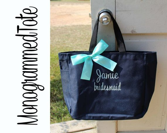 4 Personalized Bridesmaid Gift Tote Bag by PersonalizedGiftsbyJ I think this would be a great gift and then you can fill it with what ever you want.