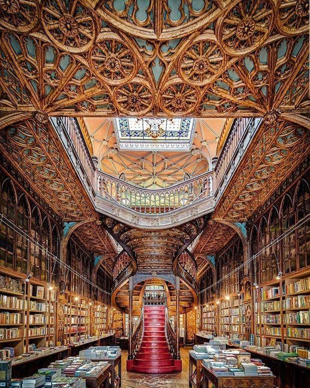 Livraria Lello In Portugal Mostbeautiful Library Architecture Portugal Grand Library