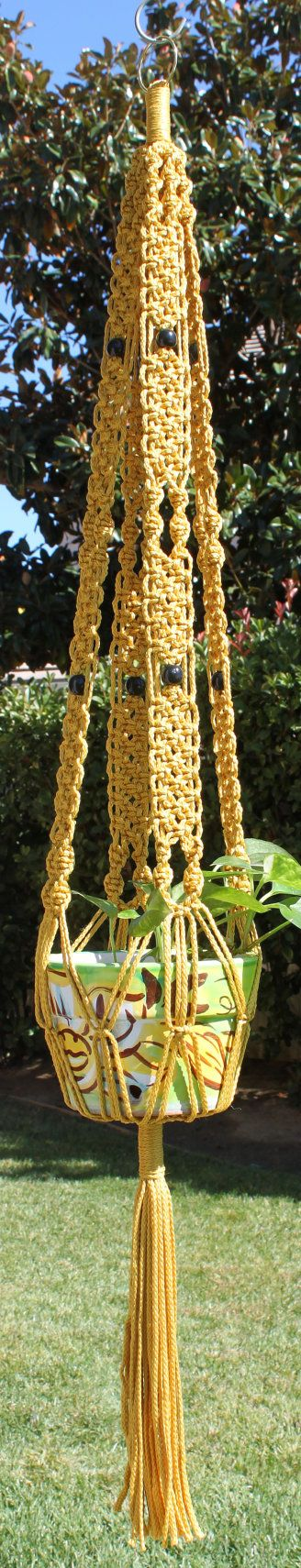 Handmade Macrame Plant Hanger Holder with Wood by ChironCreations