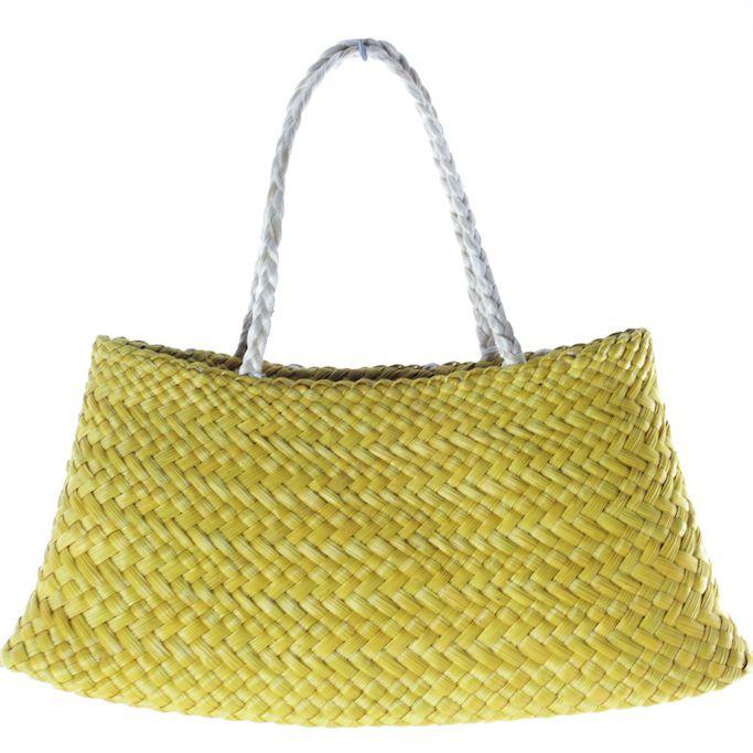 Nigel How | Kete Raukura. Hand woven Pingao Kete with Muka (flax fibre) handles. Woven basket.