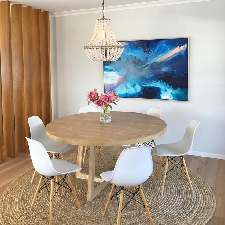 "Coastal Scandi dining room by Sapphire Living Interiors (@sapphire_living) on Instagram: ""My gorgeous @nickykrissart artwork arrived at the perfect time yesterday and I couldn't wait to…"""