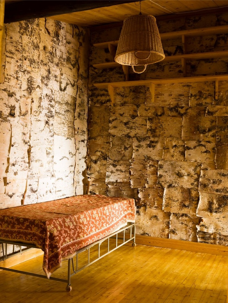 a birch-bark room