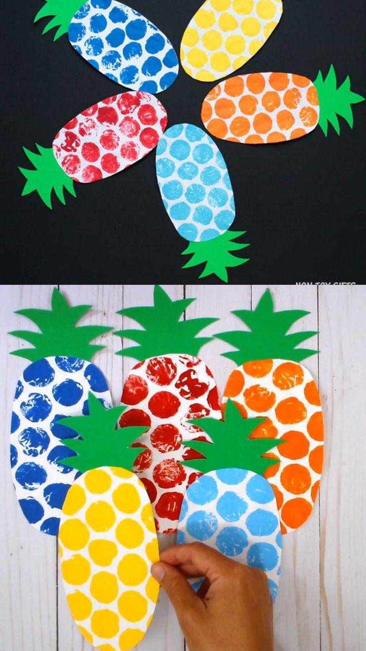 Bubble Wrap Pineapple Craft Kids Pineapple Template Fruit