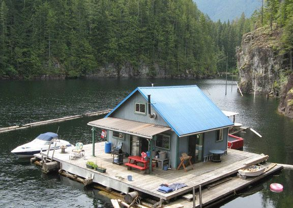 floating house: Lakes House, Floating House, Tiny House, Cabins Plans, Little Cabins, Small Cabins, Cabins Porches, British Columbia, Floating Cabins