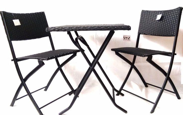 Set mesa de rat n con 2 sillas color negro color negra for Mesas y sillas para patios