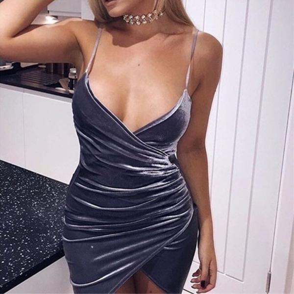 Asymmetrical Draped Velvet Bodycon Dress