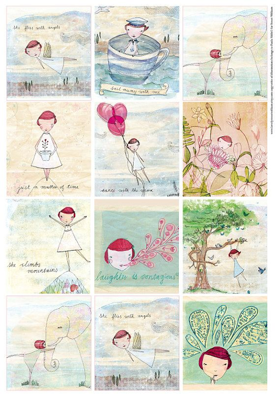 Lovely Camille Tags- Digital Download Set of 12 Sweet William illustrative tags, little girls, climbing trees, fun and cute, red head