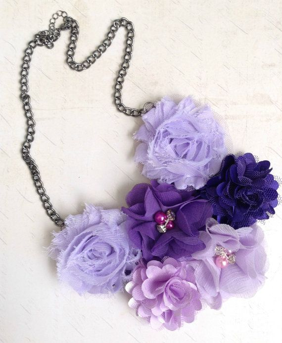 Shades of Purple Flower Statement Bib Necklace by MonicaRudyJewelry on Etsy - $37