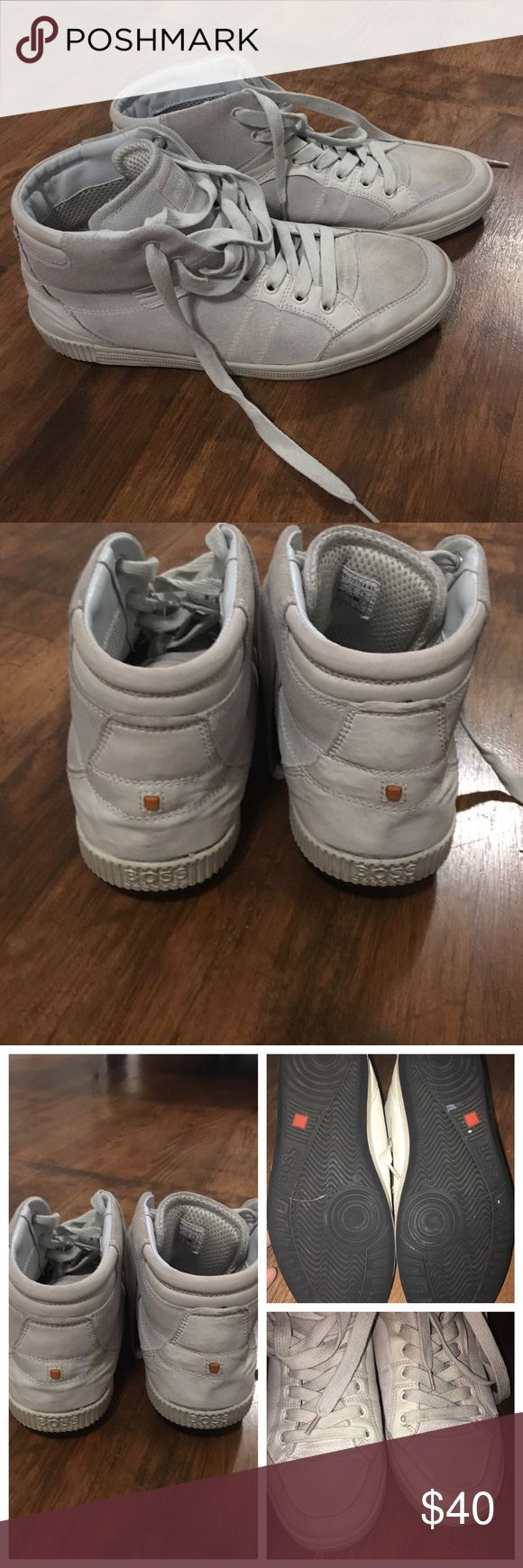 Boss by Hugo Boss Sneakers 👟 Boss by Hugo Boss off white sneakers for men. Size 41 US size 8. This sneakers are worn and shows signs of wear mostly on the front and the back please see pic. High top kinda like suede material on the sides. I don't have the box. BOSS ORANGE Shoes Sneakers