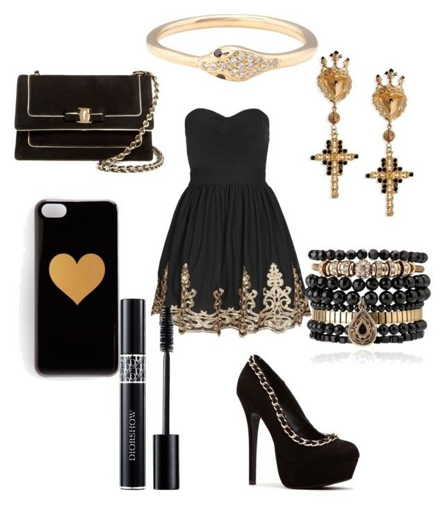 """black and gold #14"" by adozenblackroses on Polyvore featuring TFNC, Salvatore Ferragamo, Samantha Wills, Dolce&Gabbana, Kathryn Bentley and Christian Dior"