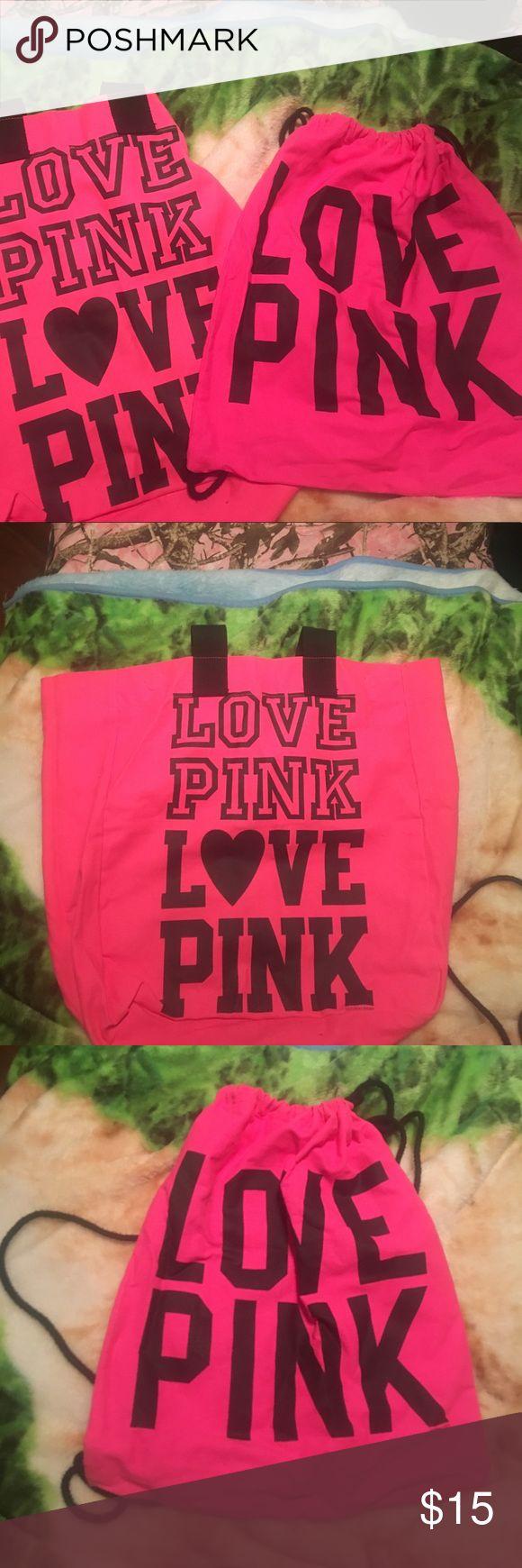 Pink tote bag and gym bag Victoria Secret Pink tote bag and matching gym bag PINK Victoria's Secret Bags Totes