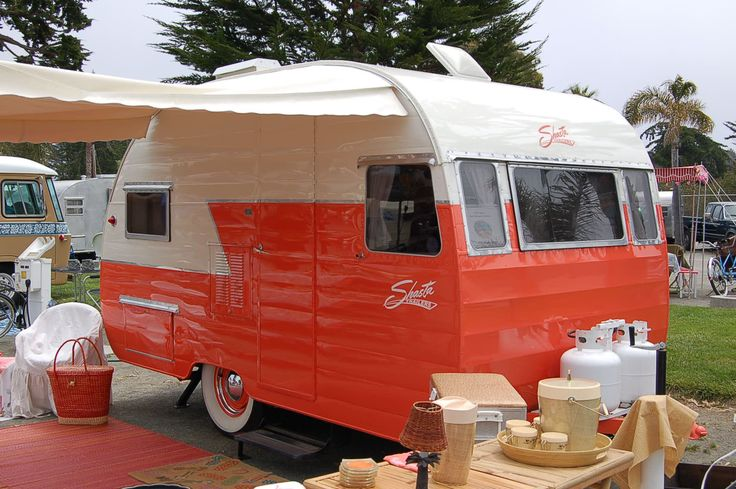 Salmon Orange 1956 Shasta Canned Ham Travel Trailer