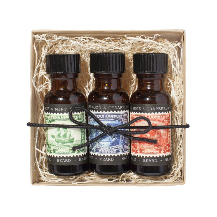For every mood and moment, from sunlight to candlelight, andperfectly  pocket-sized, The Trio of half ounce bottles includes all our scents.    DIRECTIONS FOR USE:  BEARD: Simply massage into beard, preferably after a shower, to lock in  moisture and prevent splitting. The amount depends on your beard  length--for some courageous stubble, we recommend a dime-sized amount: for  respectable scruff, a nickel: for a serious beard, a quarter.  HAIR: Work through wet hair and style as usual, to…