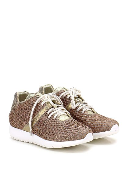 Andia Fora - Sneakers - Donna - Sneaker in tessuto tecnico e retina con glitter con suola in gomma. Tacco 30, platform 15 con battuta 15. - ORO\MULTICOLOR