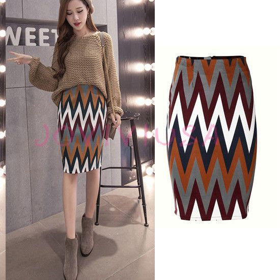 Women Brown Stripe Suede Stretchy Slim Pencil Bodycon Midi Skirt Business Casual