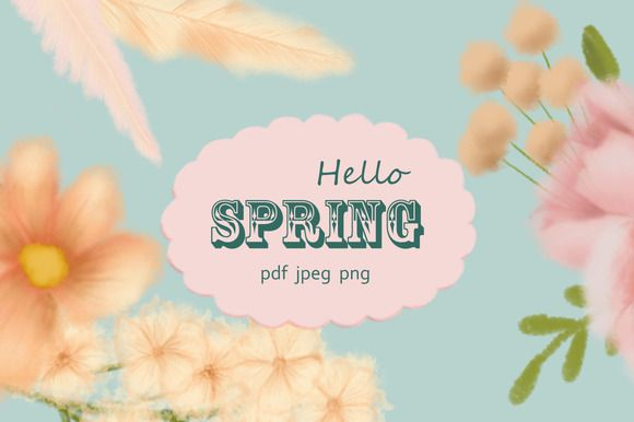 Hello Spring. Flower clipart by Funny-sunny on @creativemarket