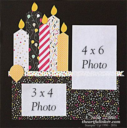 Sara Levin | http://theartfulinker.com Birthday candle tradiational 12 x 12 scrapbook page featuring It's My Party designer paper.  Click for details.