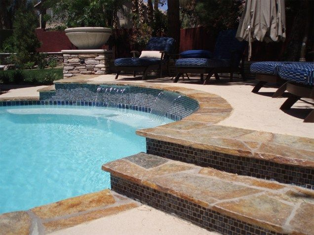 Swimming Pool Coping Styles : Flagstone coping waterfalls blue tile swimming pool