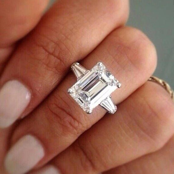 7 Ct Emerald Cut Engagement Ring Bridal Engagement Ring Emerald