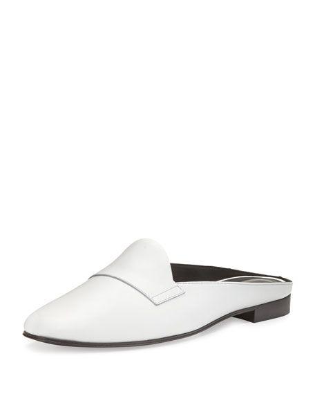 PIERRE HARDY JACNO LEATHER LOAFER MULE, BLACK/WHITE. #pierrehardy #shoes #