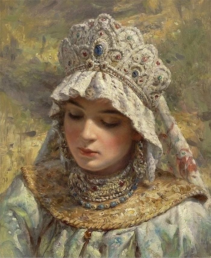 "Konstantin Yegorovich Makovsky was an influential Russian painter, affiliated with the ""Peredvizhniki"". Many of his historical paintings, such as The Russian Bride's Attire, showed an idealized view of Russian life of prior centuries art"