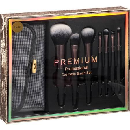 professional cosmetic brush gift set black 8 pc