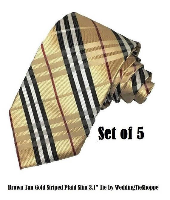 Copper Gold Tan Tie Set of 5 Wedding Tie Plaid Stripe Necktie