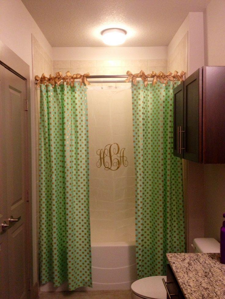 Apartment Bathroom Gold And Mint Polka Dot Shower Curtain