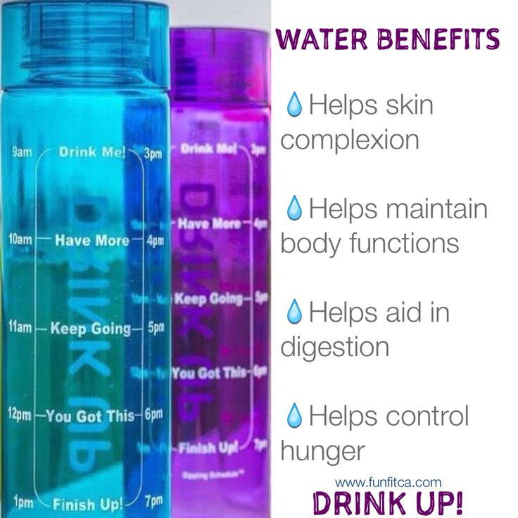 Water Benefits: Helps skin complexion * Helps maintain body functions  * Helps aid in digestion * Helps control hunger  Drinking water is essential to our health.  The Sipping Schedule™ motivational water bottle motivates individuals to drink the recommended daily dosage of water.  While traditional water bottles measure water intake by ounces or ml, the Sipping Schedule™ bottle measures intake with timeline markings. The time markings serves as a visual reminder to DRINK UP…