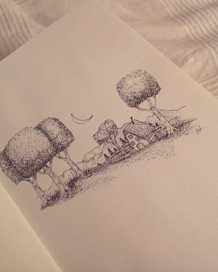 Sick and feeling useless. Solution? Drink tea mope and draw in bed. Goodnight. #drawing #illustration #illustration #art #artist #artsy #tiny #tinyworld #tinyhouse #farm #farmhouse #oldhouse #moon #trees #nature #sketchbook #sketch #winter #smallhouse #fairytale by elisajoest