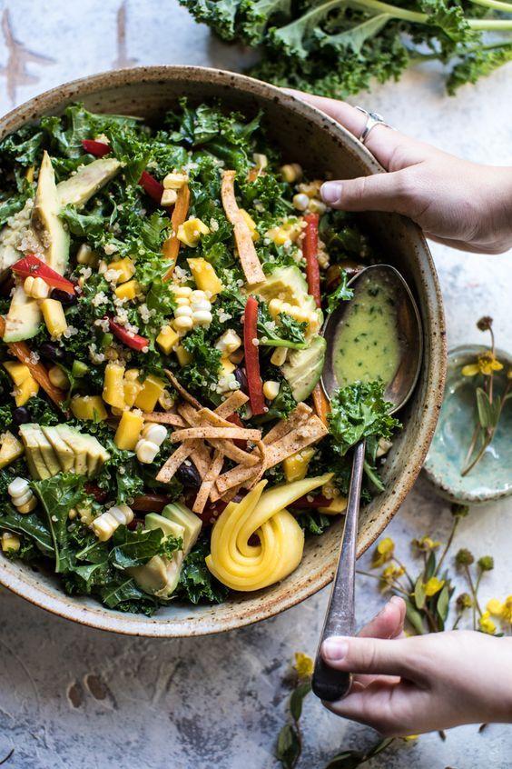 Southwest Mango, Kale, and Quinoa Chopped Salad   halfbakedharvest.com @hbharvest