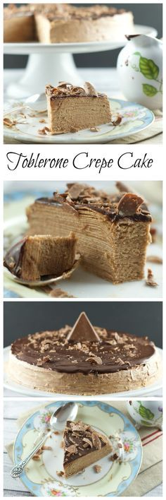 Toblerone Chocolate Crepe Cake – 30 crepes layered with Toblerone ganache and topped with a dark chocolate glaze. A simple, delicious and beautiful cake for entertaining. More delicious cake recipes at livingsweetmoments.com