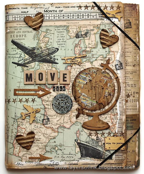 Layers of ink - The Move File by Anna-Karin, made for Simon Says Stamp Monday Challenge using Tim Holtz products by Sizzix and Stamper's Anonymous.
