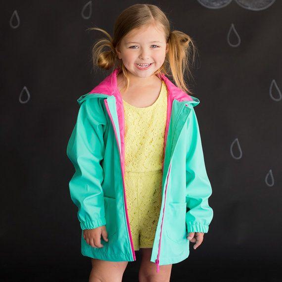 Girls Mint Monogrammed Rain Jacket ~ Monogrammed Rain Coat ~ Monogrammed Mint Jacket ~ Monogrammed Mint Rain Coat ~Girls Personalized Jacket
