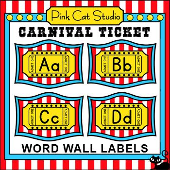 Carnival Ticket Word Wall Set - Circus Ticket art Pinterest