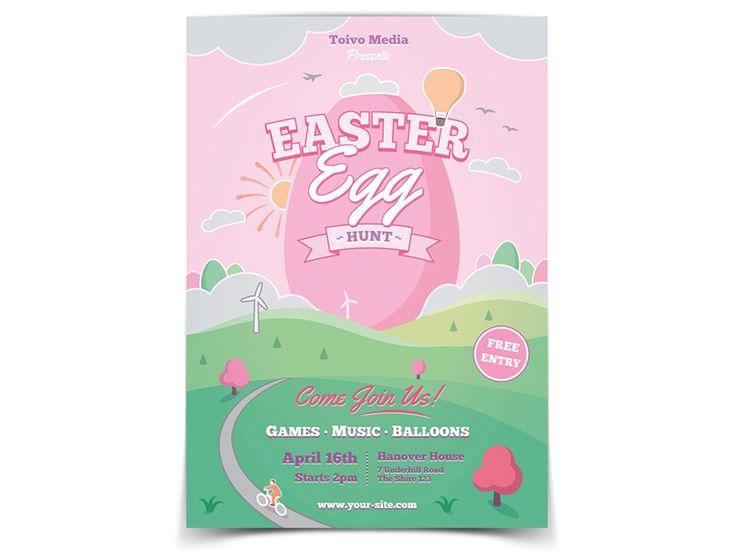Easter Egg Hunt Flyer Template - buy it here: https://graphicriver.net/item/easter-egg-hunt-flyer/19670973?ref=ToivoMedia