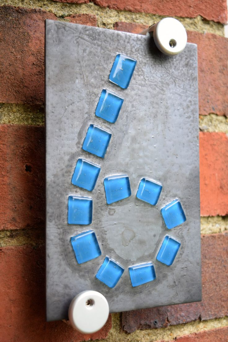 Installed bronze like tile on the weeping wall it looks old school - Contemporary Fused Glass Door Number Modern House Number Modern Glass Mosaic Number Fused