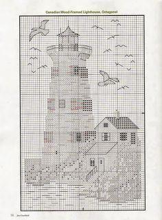 PATRONES PUNTO DE CRUZ GRATIS: Gráficos de unos lindos cuadros con faros marinos a punto de cruz