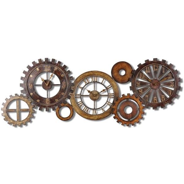 Uttermost Spare Parts Wall Clock ($328) ❤ liked on Polyvore featuring home, home decor, clocks, brown, brown wall clock, uttermost wall clocks, wall mount clock, uttermost home decor and uttermost clocks