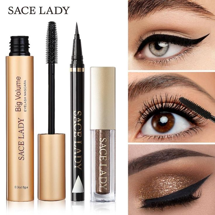 SACE LADY Professional Eye Makeup Set Glitter Eyeshadow Black Eyeliner Mascara Make Up Eye Shadow Kit Brand Waterproof Cosmetic