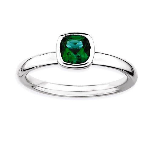 Sterling Silver Stackable Expressions Cushion Cut Cr. Emerald Ring