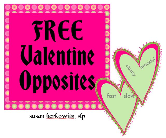 """Susan Berkowitzs Free Valentines Opposites - Do You Have a Broken Heart?   Here is another opposite matching activity just in time for Valentines Day.  Valentine's Day may not seem like the best time to be """"oppositional"""" but these opposite pairs hearts are fun.  Simply cut each of the 30 hearts in half and have students match the halves with matching antonyms. Perfect for a 1st 2nd or 3rd grade group or special education students at that level of vocabulary development.  Susan Berkowitz is a…"""