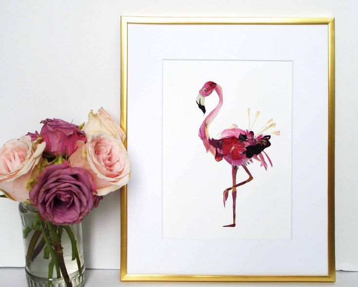 Flamingo art from Pressed flowers #flamingos #flamingo #pressedflowers #driedflowers #floral